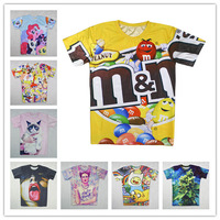 Alisister 2014 Funny woman/men cartoon Chocolate/Unicorn/leaf/cat printed t shirt Casual 3d Short Sleeve T-Shirts dropship