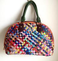 2014 New Women Genuine Leather Handbag Fashion Patchwork Shell Tote Shoulder Messenger Bag Free Shipping