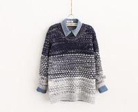 2014 Autumn and winter slim gradient sweater Women's round neck twist grandrelle line Pullover casual sweaters