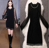 Runway brand designer women Dresses Elegant Celebrity black beading o-neck full Sleeve Knee-length Cotton silk Casual Bodycon