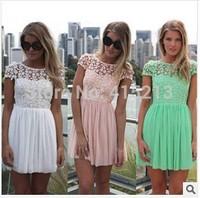 2014 Free Shipping New Fashion Women Summer Lace Patchwork Charming Backless Dress Short Chiffon Mint Green Tops Dress