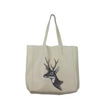 2014 designer brand vintage deer printing genuine leather handbags for women big beige tote bag shoulder bags female bolsas