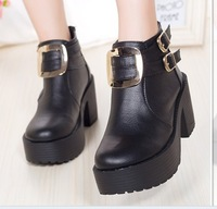 round toe platform square thick heels women autumn ankle boots 2014 new fashion leather black shoes 688-7