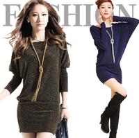 fashion Autumn long-sleeve batwing sleeve loose women dress, silver yarn slim hip fashion causal mini dresses
