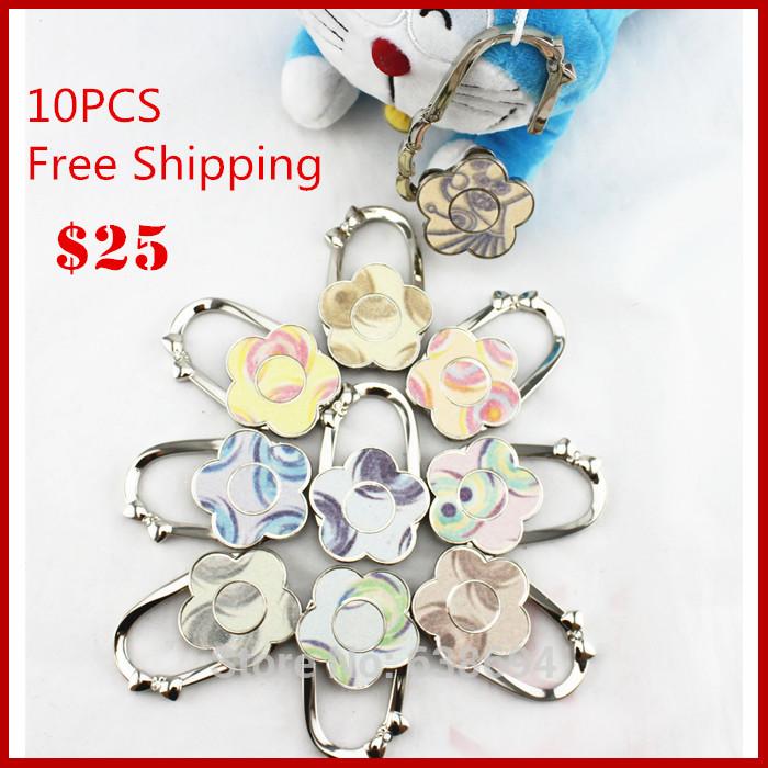Free Shipping 10 PC Flower Shape Handbag Folding Bag Purse Hanger Holder Durable Table Alloy Hook Hooker Hooks(China (Mainland))