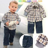 Free shipping 2014 Autumn New Arrival boys handsome  plaid shirt + jeans set,boy autumn clothing set,kids clothing,5sets/lot
