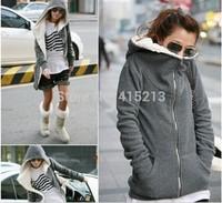 Free Shipping Warm Womens Thicken Jacket Coat Hoodies Outwear Black Grey