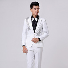 Free shipping  2014 Men s dress suits show host singer white sequined stage costumes S