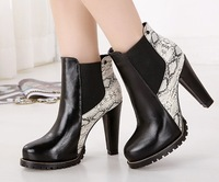 Serpentine pattern 2014 autumn ankle boots thick heel platform black snakeskin leather women boot 500-2