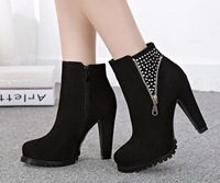 round toe suede leather zip Rhinestone platform high heels sexy women ankle boots 555-3 autumn winter fashion shoes