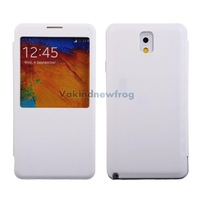 White Leather Flip S-View Sleep Wake Battery Case Cover for Samsung Note 3  V3NF