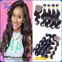 Brazilian Virgin Hair With Closure 3 Bundles With Closure Mocha Brazilian Body Wave Human Hair Weave Lace Closure With Bundles