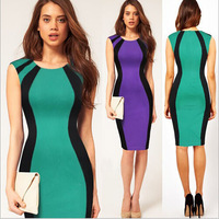 Free shipping New Summer Hit color stitching short-sleeved knee-length pencil skirt dress Womens  Party Dress sexy dress