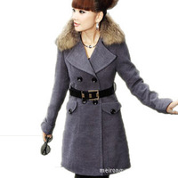 South Korean women jacket winter, Korean fur collar coat thick slim Mao Nezi