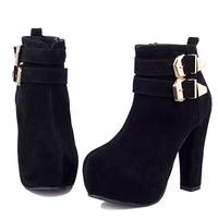 Buckle Strap high heel platform round toe red bottom vintage women ankle suede boots 2014 new design winter shoes