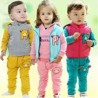 2014 children's clothing sweatshirt bear 3 piece set baby springspring and autumn sports set