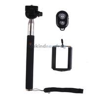 Black Bluetooth Remote + Extendable Handheld Monopod + Self Timer Camera V3NF