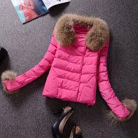Winter Coats 2014 Parka Womens Fur Collar Spliced Euro Style Colorful Short Women Down Coat Big Size XXXL Free Shipping WWM334