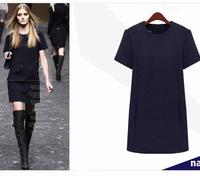 2014 autumn and winter the latest fashion woolen dress plus size fat woman slim short sleeve mini dress L-5XL yellow navy blue