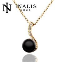N614 Wholesale! Nickle Free Antiallergic 18K Real Gold Plated Wholesale Single Pearl Necklace Jewelry 2014, Free Shipping