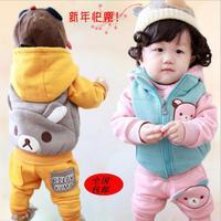 2014 children's winter infant clothing set sweatshirt outerwear 3 piece set  thickening plus velvet