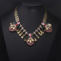 Latest 2014 Vintage Alloy Resin Stone Necklace Brand Choker Statement Pendant Necklace Fashion Jewelry for Women, Free Shipping