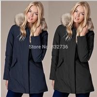 2014 Winter Woman Woolrich Long Duck Down Coat Windproof Waterproof ski suit Hooded Parka Thick Overcoat
