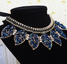 Free shipping 2014 new fashion jewelry accessories punk Metal leaves crystal false collar necklace wholesale Dickie folk women