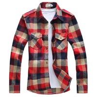 2014 Hot Men's Shirts,Cool men's clothing lovers shirt male long-sleeve plaid slim shirt 15 Colors Size:M-XXL