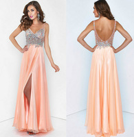 2014 A-line Spaghetti Straps Floor Length Peach Beaded Slit Long Sexy Slit Evening Dresses Evening Gown Prom Dresses