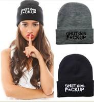 4H348 SHUT DES F*CKUP Free shipping Brand 2014 New Unisex Hip Hop Warm Beanie Cap Winter Autumn Women Knitted Hats Men Beanies