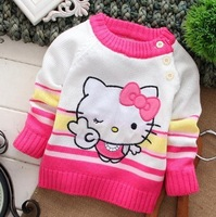2014 hot sale fashion hello kitty long sleeve cotton character cartoon stripe patchwork baby's clothing sweaters free shipping