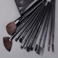 Professional 12pcs Face Makeup Brush Set with Black Leather Bag Make Up Brushes Free Shipping Wholesale