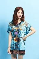 New Bohemian Vintage Fashion Women Dresses Plus Size Ice Silk Dress Hot Selling Loose Novelty Statement Necklace Print Dress