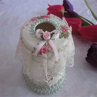 Fashion lace bow cloth tissue box tissue box roll paper tube Home Decals