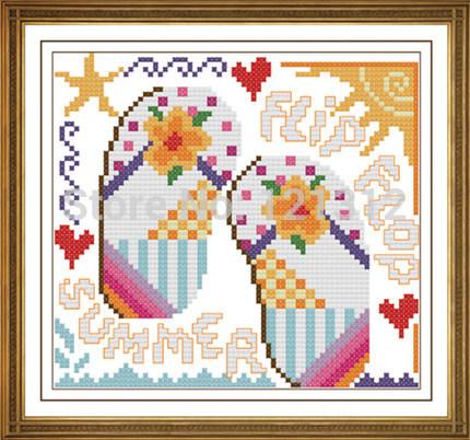 Free Shipping !!! New unfinished Cross Stitch /diy Cross Stitch Kit / Cross Stitch / Flowers shoes(China (Mainland))