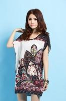 New Arrival Fashion Women Floral Dresses Plus Size Ice Silk Dress Hot Selling Loose Novelty Flower Print Dress Bohemian