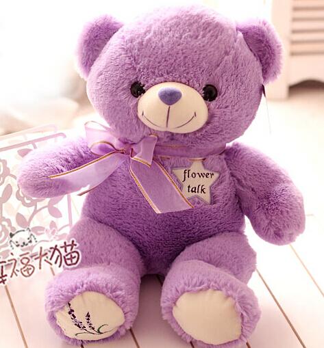 Super cute 1pc 45cm cartoon sweet bowknot lavender teddy bear plush doll home decoration stuffed toy children baby girl gift(China (Mainland))