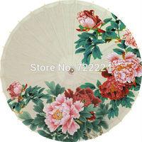 Free shipping chinese classical handmade unique peony painting oiled paper umbrella decorative props dance rain parasol umbrella