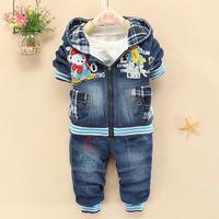 Free shipping new item 2014 children autumn 3PCS sets(COAT+top+pant) children denim cotton suits