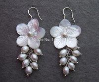 @@~~  Pearl&Shell Flower Earrings-925 Silver Hook   free + shippment