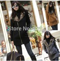2014 women hoody casual leopard print long-sleeve coat sweatshirt outerwear cardigan women's sport suit hoodies