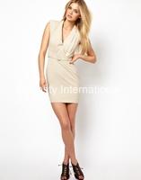 Belted Dress with Deep V Neck and  padded shoulder OL dress Beige/black party dress