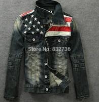 2014 Autumn Men American Flag Denim Jacket & Coat Slim Fit Mens 100% Cotton Jackets and Coats Mens Bomber Jacket