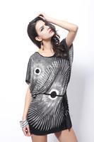 2014 Fashion Women Sunflower Printed Ice Silk Loose Batwing Sleeve Black Modern Plus Big Size Belt Tie Mini Bohemian Dress