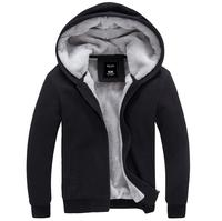 Free Shipping!Men Hoodies Winter Warm Outerwear For Men Casual Solid Sport Men Clothing Coat Jacket 4 Colors Plus Size M-XXXL