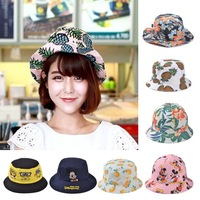 2014 Korean wholesale cartoon pineapple bucket hat lovely cartoon fisherman cap fashion floral flowers sunhat for men and women
