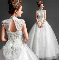 2014 Large Crystal Bow Wedding Dresses Lace Princesa Bridal Gown Women 2015 Newest vestido de noiva renda Factory Retail D-8070