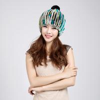 2014 New Style Genuine Knitted Rex Rabbit Fur Hat Natural Rabbit Stripe Fur Caps Fashion Women Beanie Headgear Various Colors