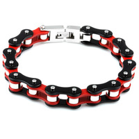 """Super Strong Mens Red Black Tone  Motorcycle Bike Stainless STeel Chain Bracelet Bangle 8.66"""""""